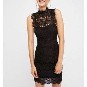 Free People Lace Backless Black Dress Daydream